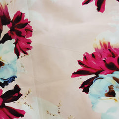 Pale Pink Floral Print on Cotton Sateen