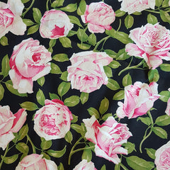 Pink Roses on Cotton Sateen