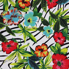 Tropical Print on Cotton Sateen