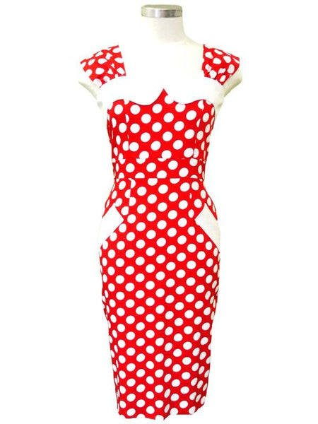 Bessie Dress – Red/White Spot