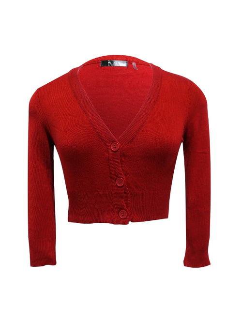 3/4 Sleeve Cropped Cardi - Red
