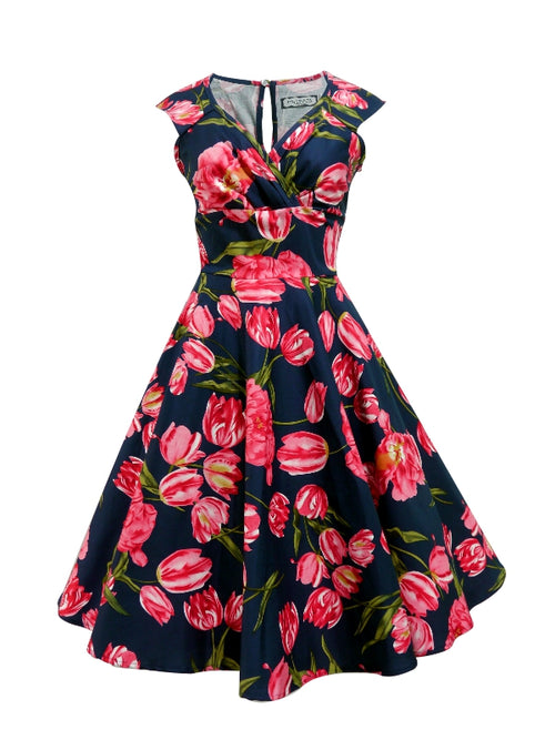 Betsy Dress - Navy Pink Flower