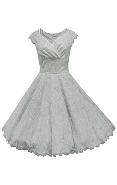 Sweat heart neckline wedding dress in ivory with lace overlay, full circle tea length skirt.