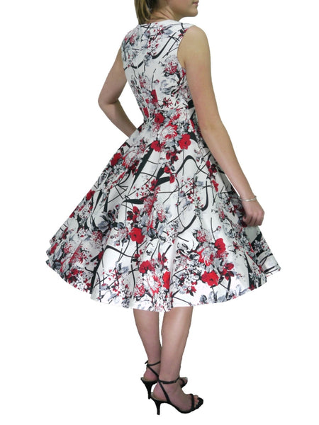 Greta Dress - White Red Grey