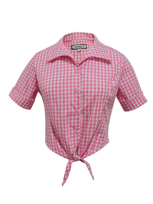 Jean Tie Front Blouse - Pink White Gingham