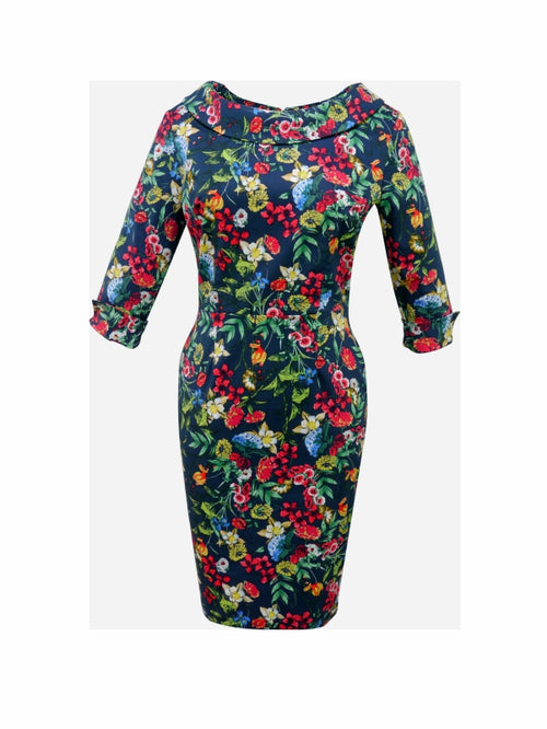 Sophia Dress - Navy Flower