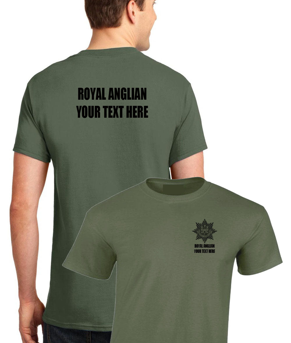Double Printed T-Shirt Royal Anglian (add your own text)