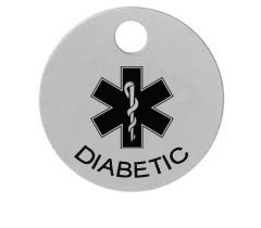 Engraved Medical Warning / Alert Tag Diabetic
