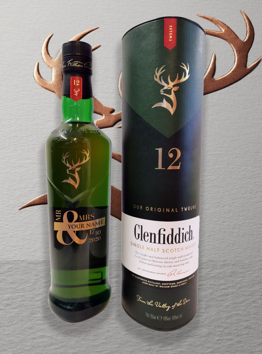 Engraved Bottle of Glenfiddich Single Malt Whiskey Mr & Mrs 70cl Design 002