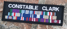 Load image into Gallery viewer, Police Constable Black Velcro Name Badge with stitched Medal Ribbons