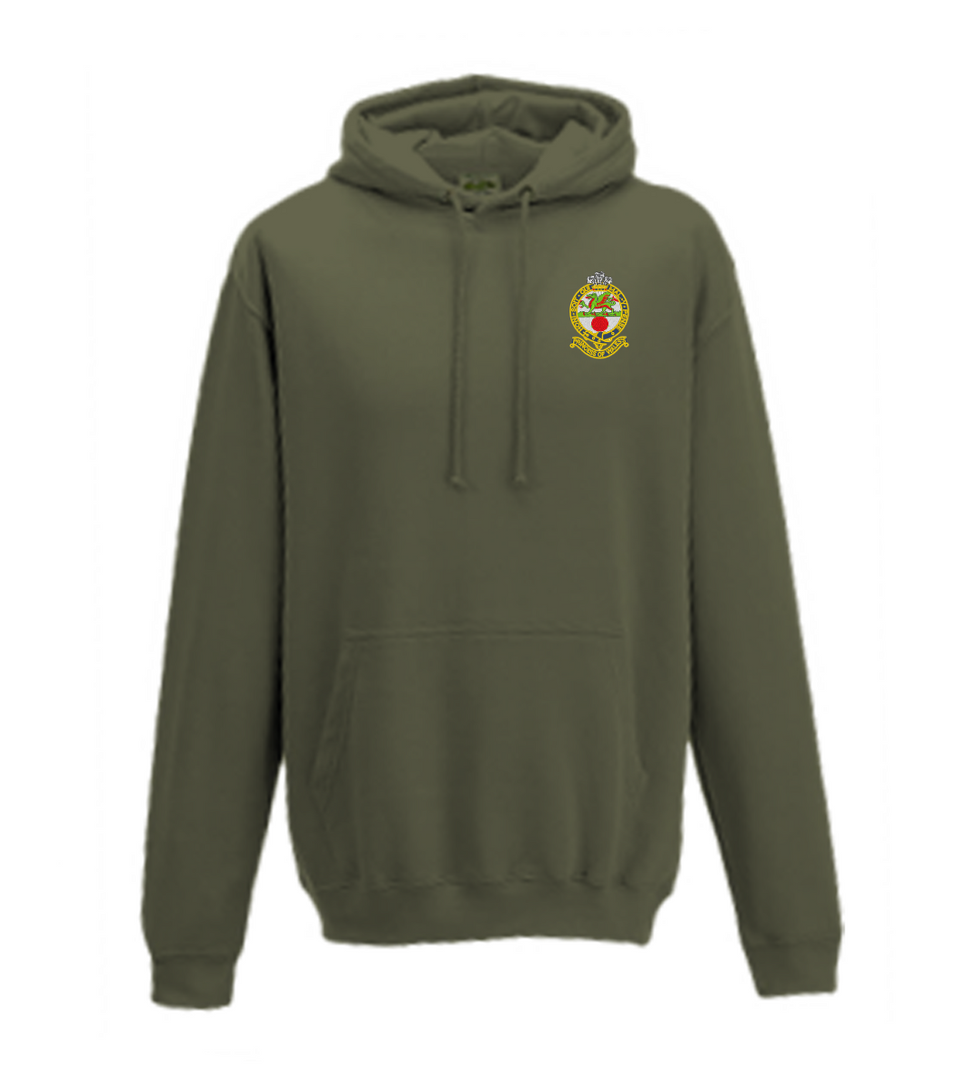 Embroidered Princess Of Wales's Royal Regiment Hoodie Olive Green