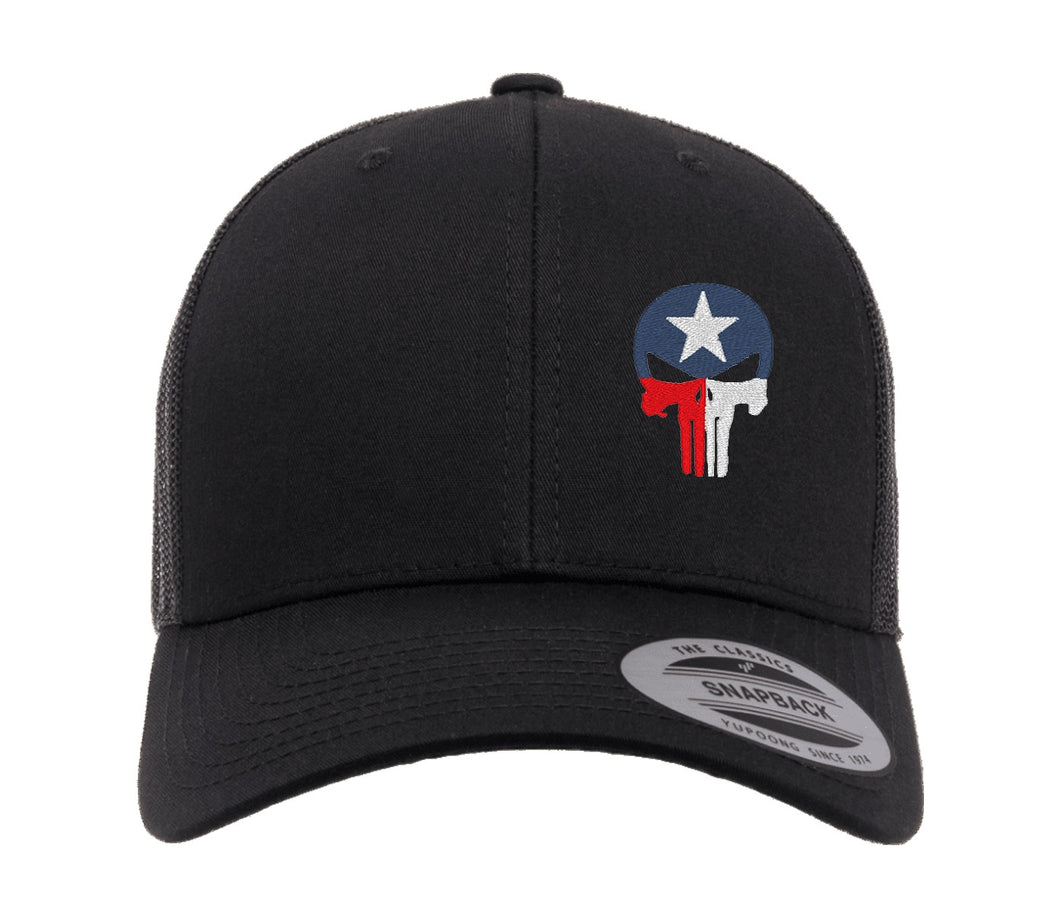 Texas Flag Punisher Skull Embroidered Cap