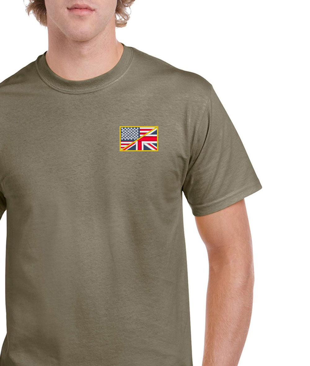 US/UK Flag Embroidered T-Shirt