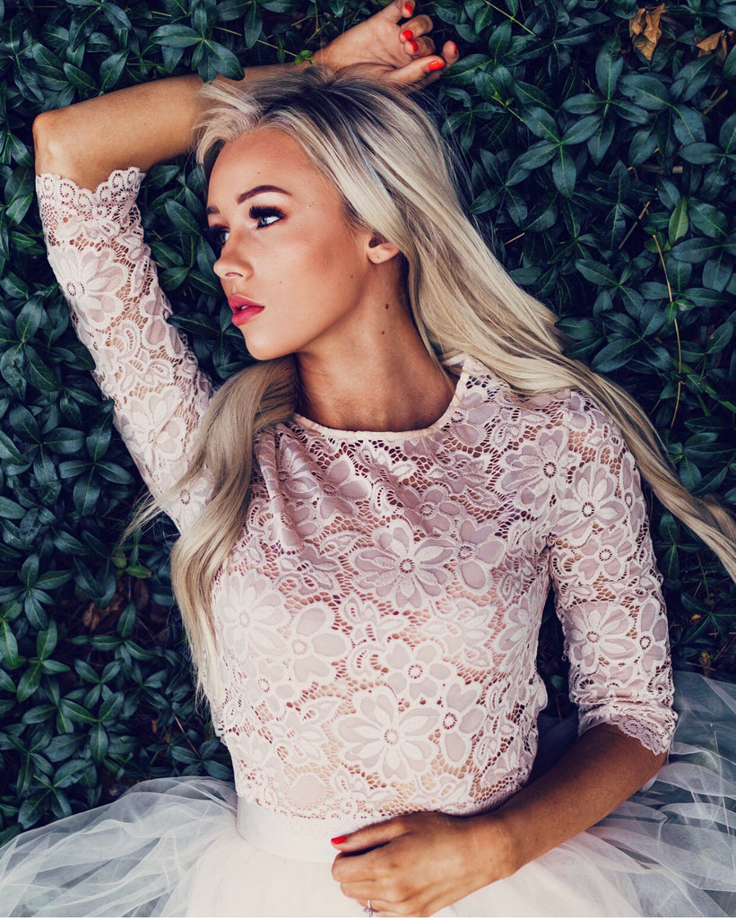 Camilla Lace 3/4 Sleeve Top, Tops - Bliss Tulle