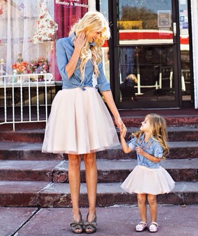 Claire Mommy and Me Tulle Skirts blush pink Set of 2