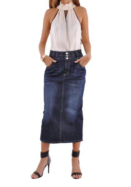 Uptown Denim Skirt # PE-0588