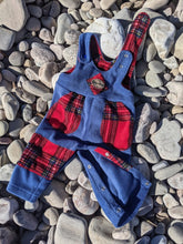 Load image into Gallery viewer, Dungaree denim blue with Royal Stewart tartan
