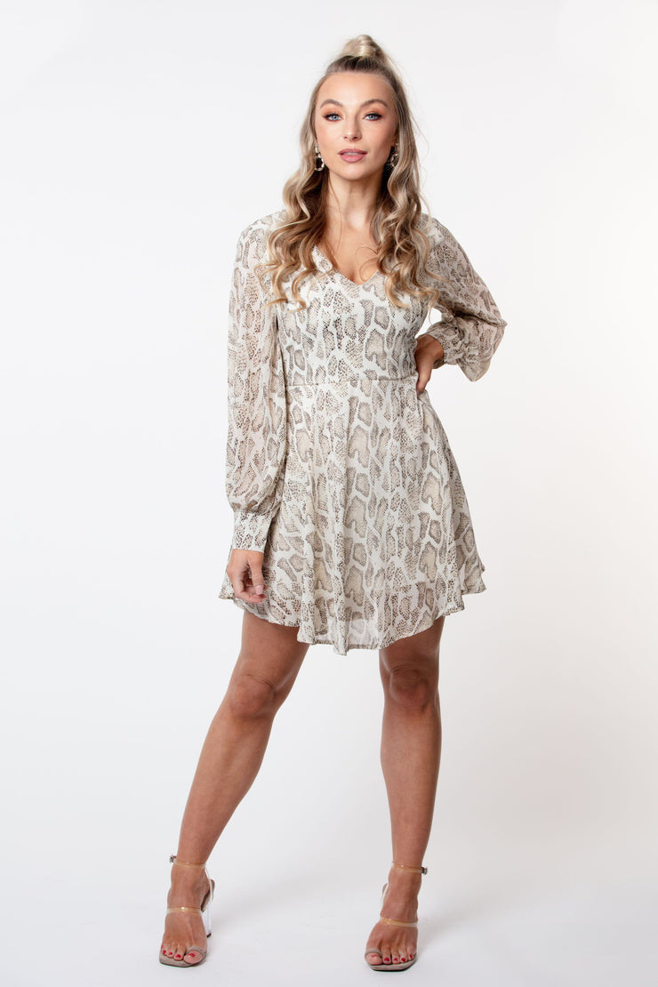 Snake print cuffed sleeve dress