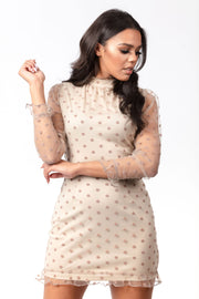 Polka dot sheer high neck dress
