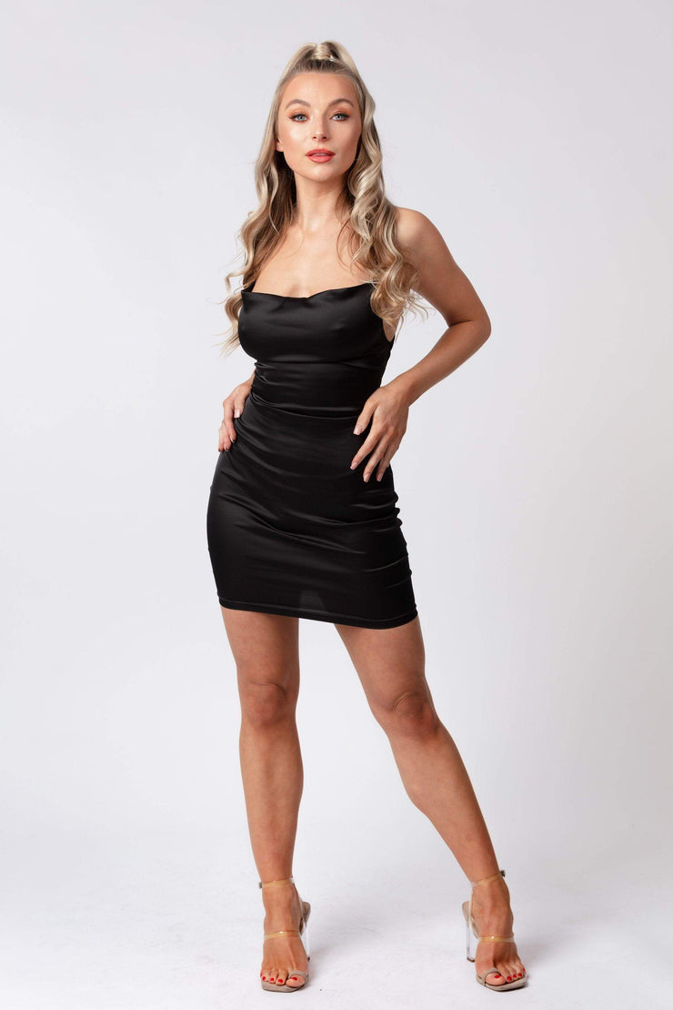 Cowl neck satin mini dress black