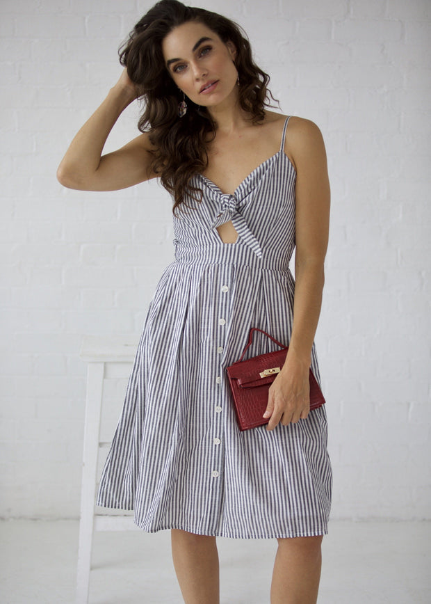 Stripe tie front button midi dress