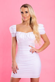 White milkmaid puff sleeve Dress