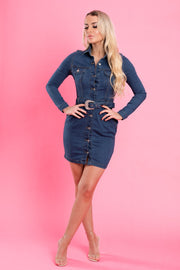 Denim western belt long sleeve Dress