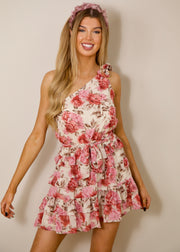 Wild rose one shoulder dress