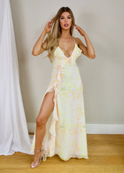 Walk on the wild side ruffle maxi dress lemon