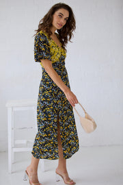 Yellow black floral angel sleeve midi dress