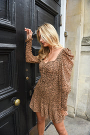 Animal print shirred dress