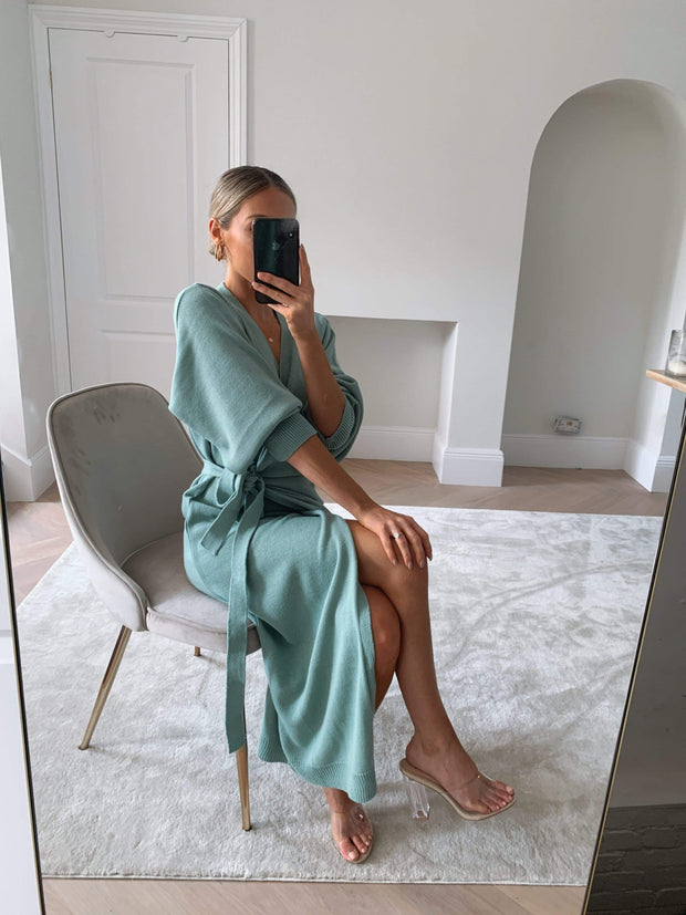 Light green wrap midi dress