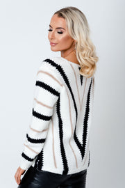 Stripe metallic knit Jumper