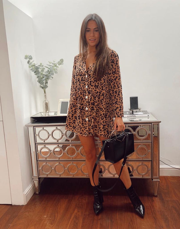 Animal print button dress