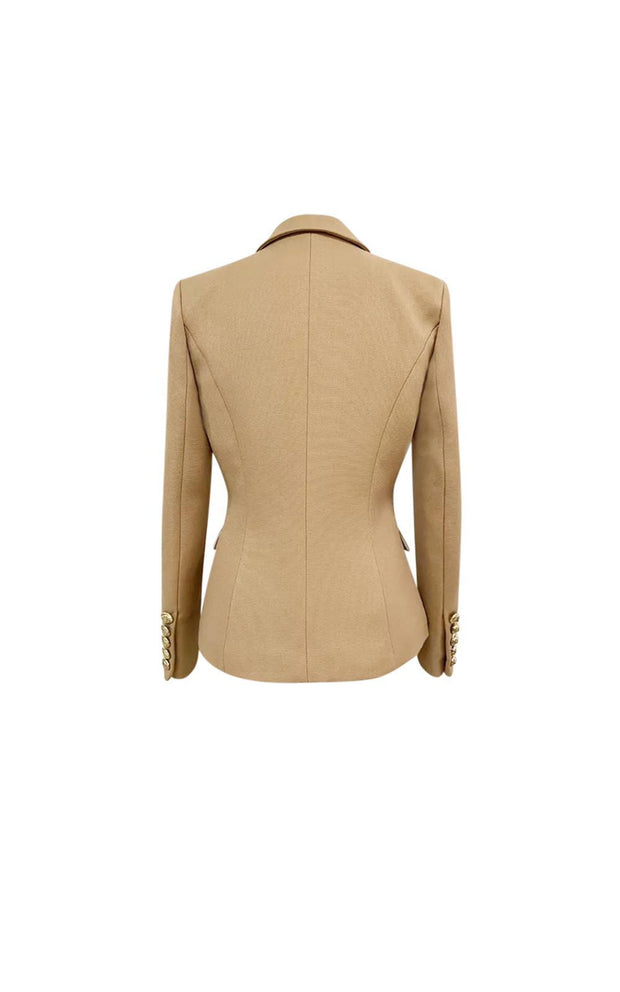 Tan military style fitted blazer