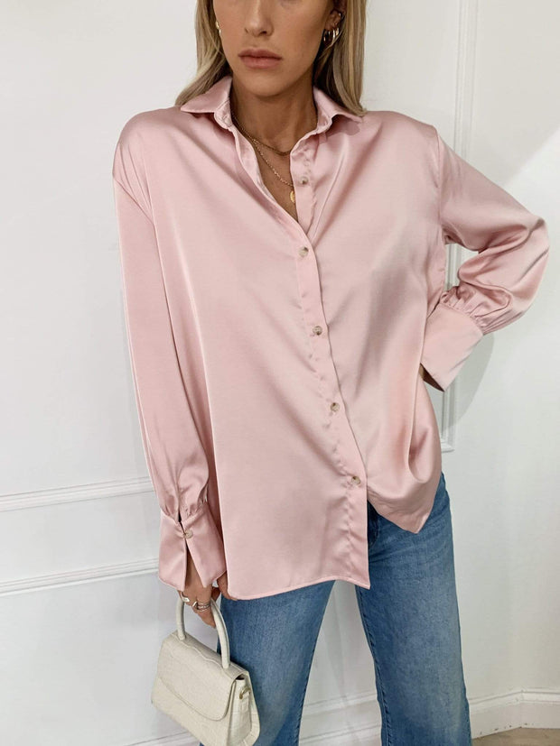 Pink satin relaxed shirt