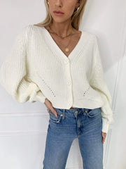 Light cream relaxed knitted cardigan
