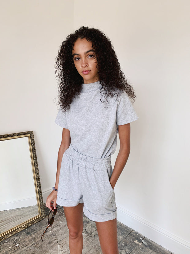Grey marl short set