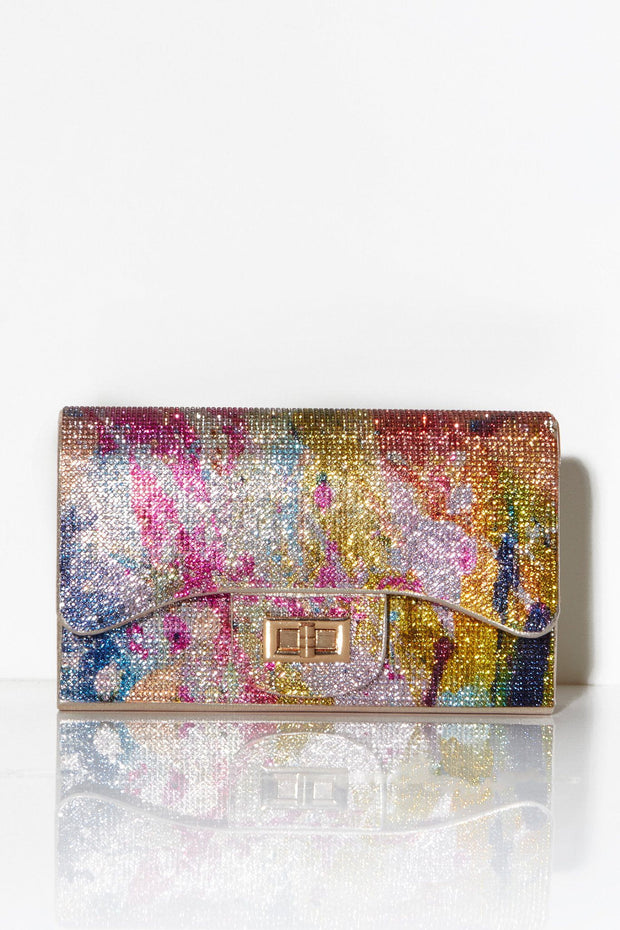 Multi colour crystal embellished shoulder bag