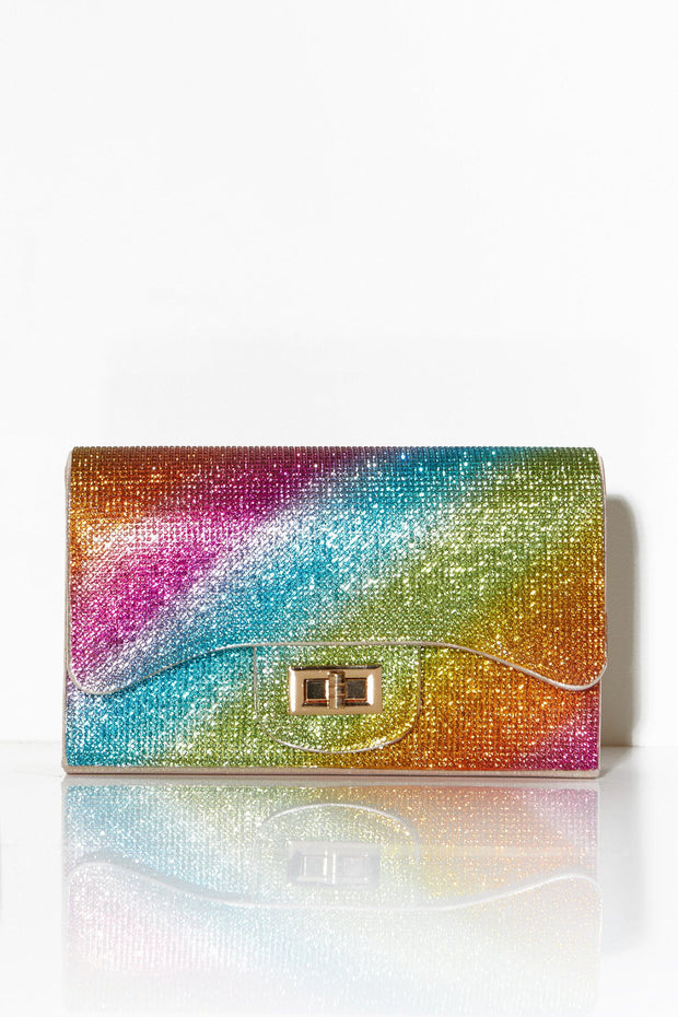 Rainbow crystal embellished shoulder bag
