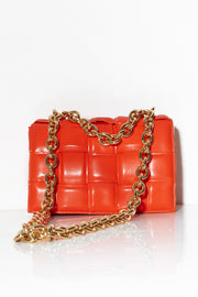 Quilted shoulder bag with chunky chain Orange