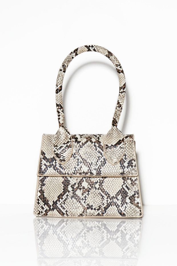 Oh, I see you snake print bag cream