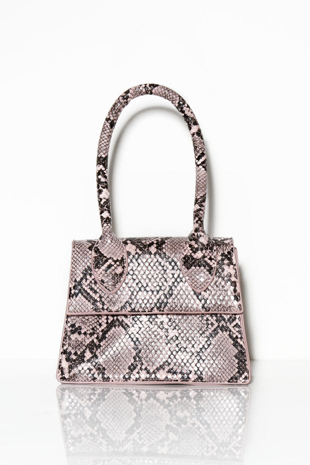 Oh, I see you snake print bag light pink