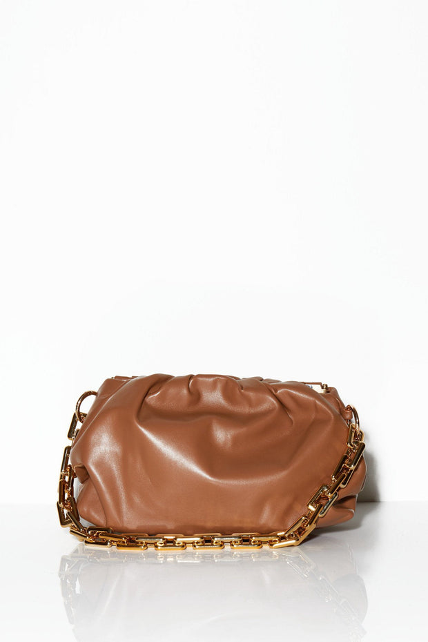 Places to be chain clutch bag tan
