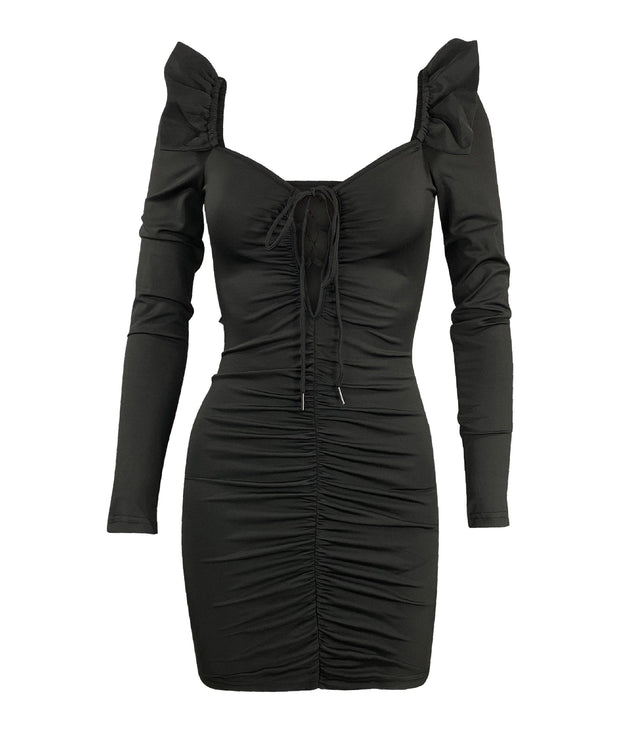 Black ruched frill shoulder dress