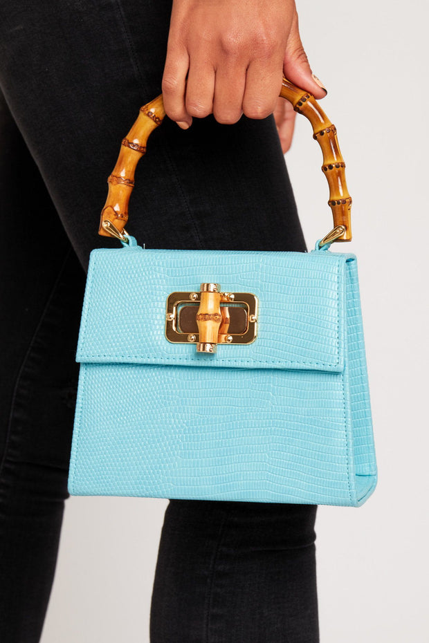 Bamboo handle bag in blue