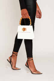 Bamboo handle bag in white