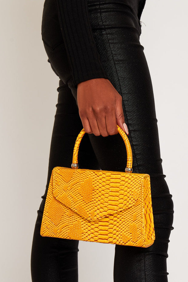 Lucine yellow croc bag