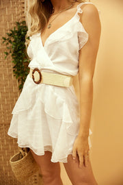 White frill tie back dress