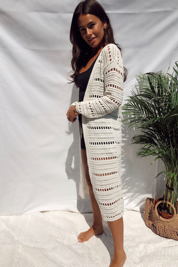 Cream crochet longline cardigan